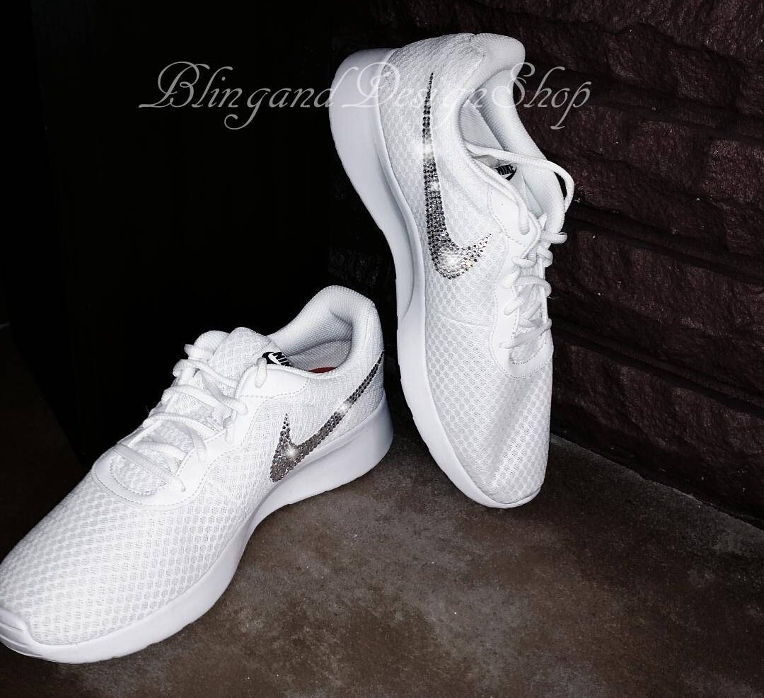 detailed look fdaae de48b Swarovski Bling Nike Tanjun Women s Nike Shoes Custom with Swarovski ...