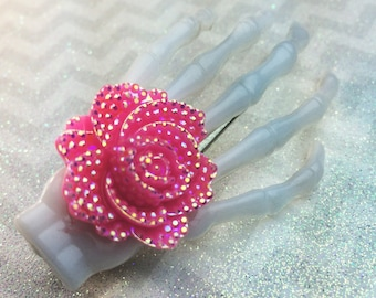 Skeleton Hand Hair Clip Rose Rockabilly Clip Psychobilly Hair Clip Skeleton Clip Creepy Cute Kawaii Pastel Goth Glam Horror Punk Tiki Flower