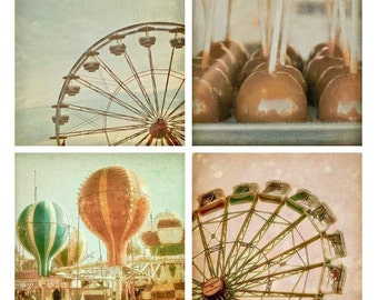 Carnival Photography Set - whimsical, pastel, wall art - ferris wheel, hot air balloons, caramel apples, 4x4 prints
