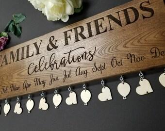 Birthday Board. Family Celebrations Board. Family Birthday Board. Family & Friends Celebrations Board. Engraved Birthday Board Sign 24x7.5in