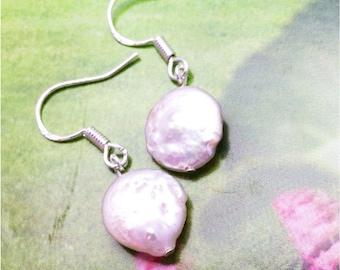 Fresh Water Pearl Earrings, Sterling Silver Hammered Wires