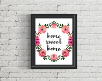 Printable Flowers Home Sweet Home