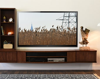 Floating Media Cabinet - Curve Mocha - 3 Piece + Bookcase