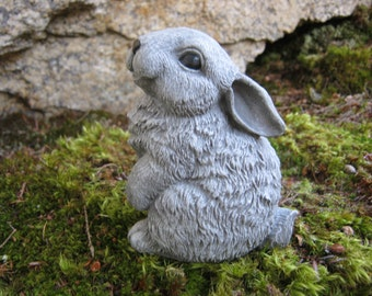 Rabbit Statue, Cute Bunny Garden Figure, Painted Concrete Garden Statue, Woodland Animal Garden Decor, Cute Rabbit Cement Yard Art
