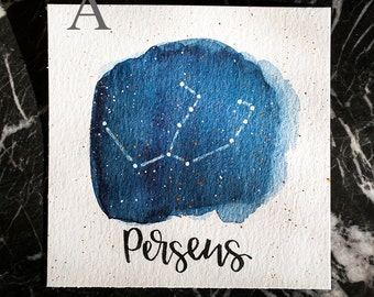 Perseus Constellation Painting - Galaxy, Night Sky, Stars, Original Watercolor