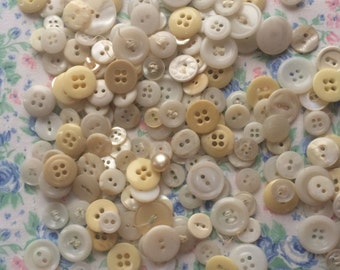 Lot of 200 Vintage White Buttons, Used Buttons, All Shades of White, 1940's -1960's.