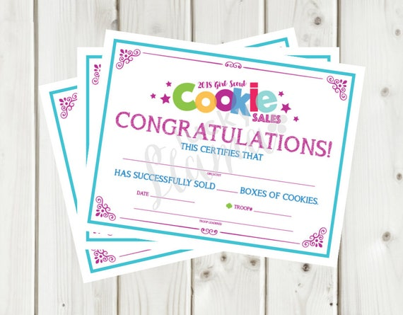 2018 girl scout cookie sales certificate