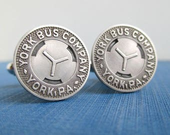 YORK, PA Transit Token Cuff Links - Repurposed / Upcycled Vintage Coins
