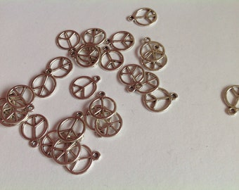 20 Peace Sign Silver Coloured Metal Charm