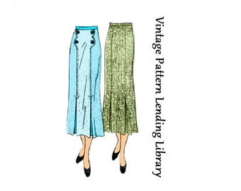 1936 Ladies Skirt With Patch Pockets- Reproduction Sewing Pattern #T1047