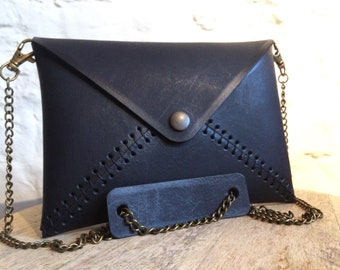 Party bag, leather clutch * 100% handmade *
