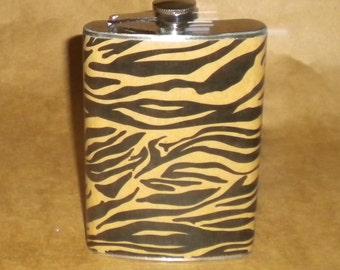 Black and Tan Zebra Animal Print Gift Flask 8 Ounce KR2D 7351