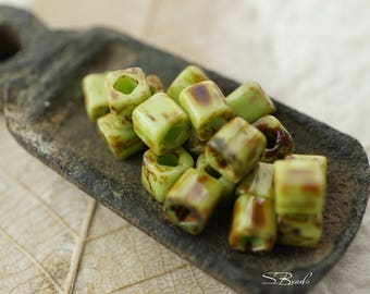 Picasso Green, Cube Beads, Czech Beads, Beads