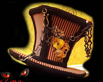 Steampunk Hat Victorian Mad Hatter Top Hat with Gears