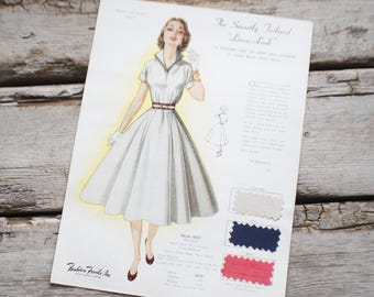 Fashion Frocks, Style Card, 1950s ,Mad Men , retro clothing, style 6017, clothing, dressmaker, seamstress gift, lookbook, cincinnati ohio,