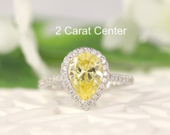 2.2ct tw Classic Pear Halo Engagement Ring (Light Canary Yellow 10X7mm), Bridal Ring, promise Ring, Sterling Silver
