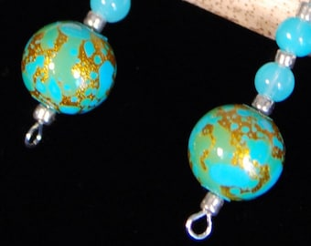 Gold Flecked Turquoise Earrings