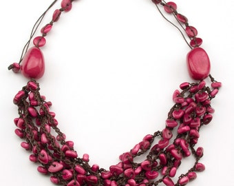 Crochet Adjustable Fuchsia Pink  Tagua Necklaces.