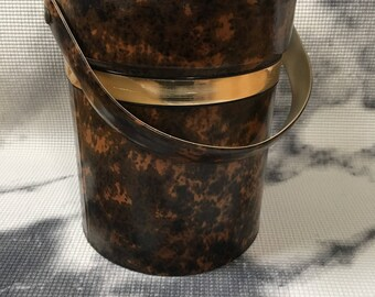 Vintage Tortoise Shell Look Ice Bucket Vinyl Kraftware Gold Bands Retro Handle