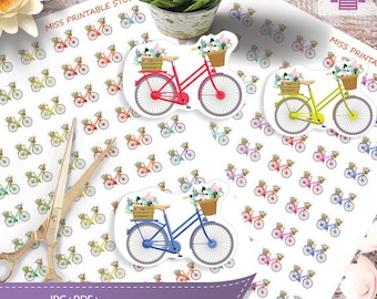 Bicycle Printable Planner Stickers  Bicycle Icon Stickers Functional Stickers Bike riding Planner, Planner Stickers,Instant download