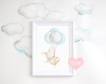 """Nursery Art """"BUNNY WITH BALLOONS"""" Archival Print, Children's Illustration. Kid's Balloon Art, Nursery Print."""