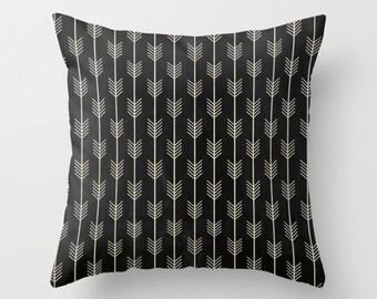 Arrows Pillow, Boho Pillow, Black Pillow, Arrow Decor, Black Velvet Pillow, Rustic Pillow, Black Pillow, Black Accent Pillow, Boho Decor
