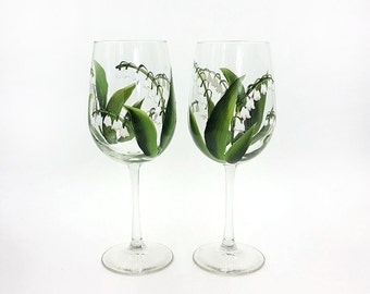 Hand Painted Lily of the Valley Wine Glasses Set of 2 Lilies Stemware Easter Spring Wine glass