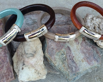 Leather Bangle Bracelet with CZ Magnetic Clasp