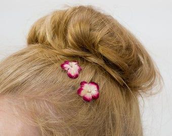 Wine Red Flower Hair Clips, Red Flower Bobby Pins, Red Flower Hair Grips, Red Flower Hair Pins, Red Flower Kirby Grips, Red Blossom Flower