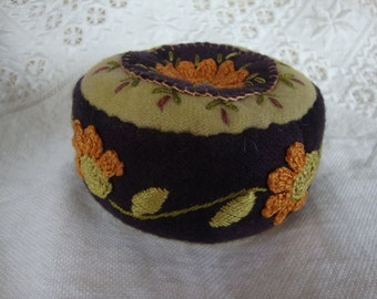 Eggplant and Apricot flower Pincushion
