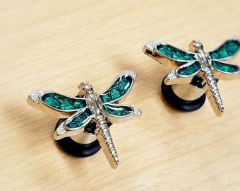 Green and silver Dragonfly plugs - 0g - Ready to ship!