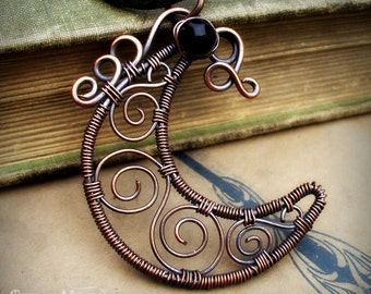 Wire Wrapped Moon Necklace- Copper  Wire Wrapped Crescent Moon Jewelry