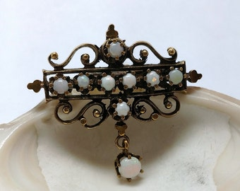 Victorian Styled 14k Gold & Opal brooch