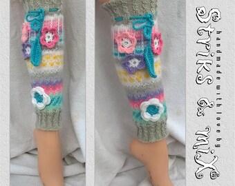 Knit leg warmers with flowers, Knit socks with flowers, Ankle socks, gestrickte socken mit blumen