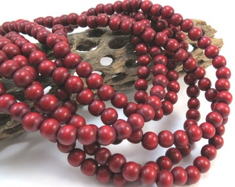 Red Wood Beads, Cranberry Red 8mm Round Wood Beads, Two 16 inch Strands, Beading Supplies, Item 1032wb