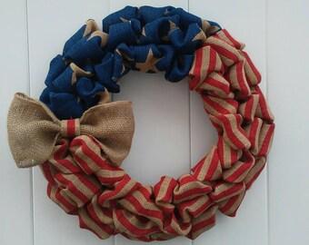 Fourth of July Wreath, Patriotic Wreath, Americana Wreath, Stars and Stripes Wreath, Patriotic Decor, Rustic Americana Wreath