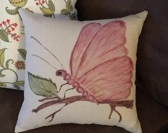 Pillow, spring pillow, pink butterfly, butterfly pillow, nature pillow, watercolor pillow, watercolor flowers pillow