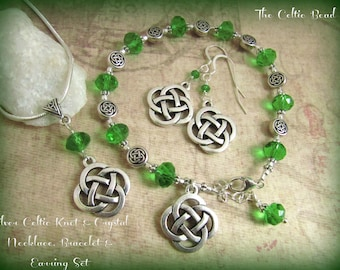 Silver Celtic Knot & Green Crystal Necklace, Bracelet and Earrings Set