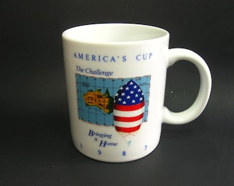 1987 America's Cup Coffee Mug The Challenge Bringing It Home