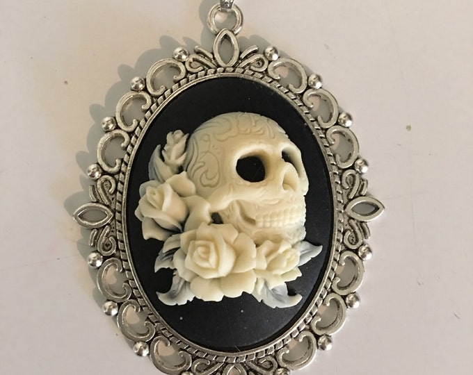 Skull Cabachon Cameo - Flowers Necklace-Gothic-Halloween Jewelry