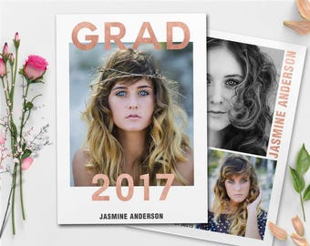 Rose Gold Foil Graduation Announcements Template , Senior Graduation Announcement Template for Photographers GRAD012