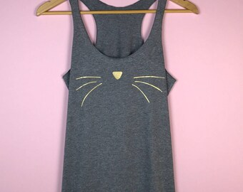 Cat Face Tank Top. Cat Shirt. Cat Lover Gift. Women's Tank Top. Cat Face Tank. Cat Lady Gift. Cat Shirt for Women. Gold Cat Face. Grey tank.