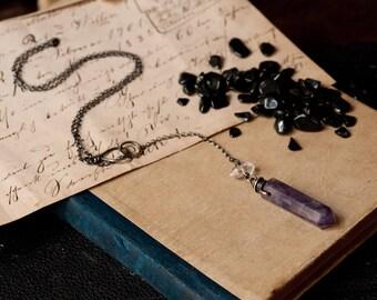 Amethyst pendulum, amethyst necklace with herkimer diamond, silver gemstone pendulum necklace, divination, amethyst point, natural amulet.