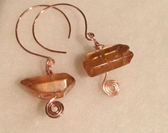 Peach Quartz Crystal Points  in Rose Gold Zen Spiral Dangles  Earring   Crystal Points Earrings originally 8 dollars now 6 spring sale