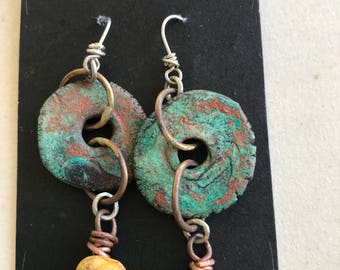 Earthy Bohemian Clay Handwrapped Earrings