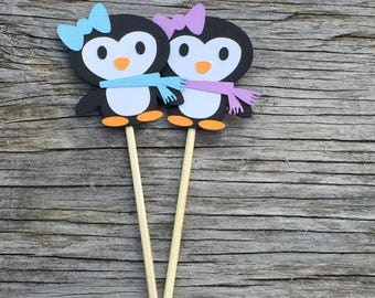 Winter Penguin Cupcake Toppers, Winter wonderland party, winter onderland party