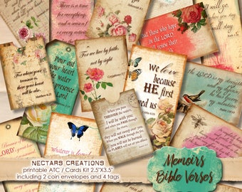 "MEMOIRS_BIBLE_VERSES Vintage Printable 2.5""X3.5"" ATC images collage sheet-scrapbooking, journals,cards,gifts,jewellery,labels, tags-BVK001"