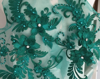 Exquisite Pearl Beaded 3D Lace Applique Set in Emerald Green,Metalic Silver Thread Bridal Wedding Gown Applique,  Bridal Dress Decor, Bodice