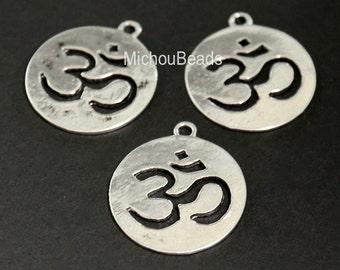 BULK 25 Antiqued SILVER 23mm Round Flat OM Symbol Charm - 23mm Ohm Yoga Meditation Buddhist Symbol Charm Pendant - Nickel Free - USa - 5583