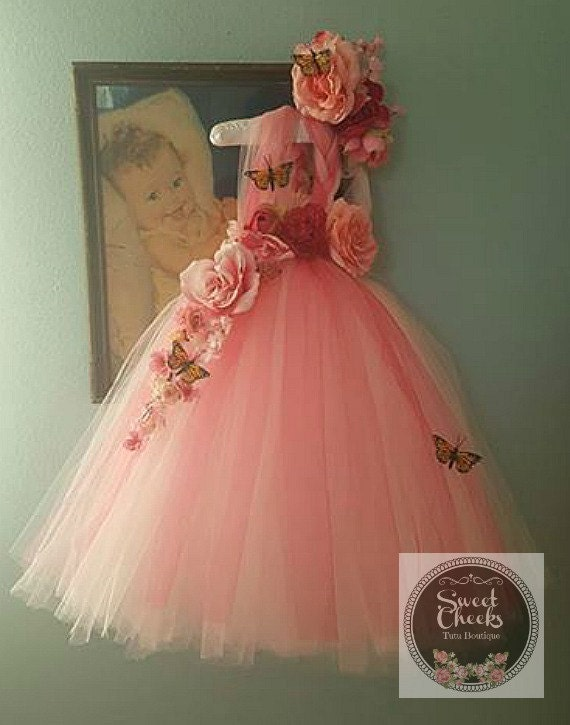 Pink flower girl dress pink fairy dress Dress upfairy